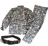 迷彩服 戦闘服 BDU パンツ&ジャケット 上下セット デューティーベルト タクティカル ピストルベルト がセット SSサイズからLサイズまで!幅広いサイズに対応! (L, ACU迷彩(デジタルカモ))