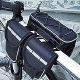 ミカソ(Mekarsoo)自転車用バッグ フロントバッグ ハンドルバーバッグ フレームバッグ 防水 小物を収納可 バイクバッグ(ブラック)