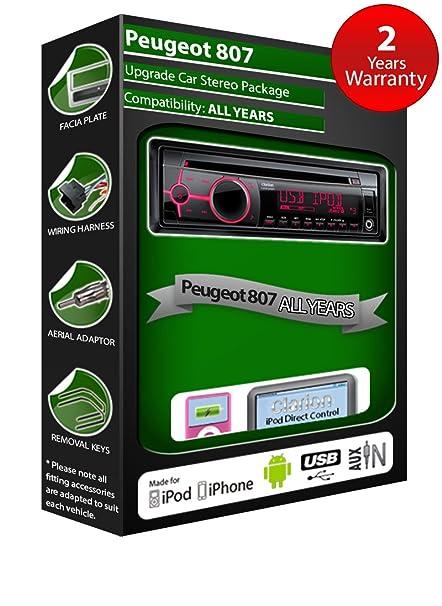 Peugeot 807 de lecteur CD et stéréo de voiture radio Clarion jeu USB pour iPod/iPhone/Android