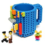 Build-on Brick Mug,Latest Version,Creative DIY Building Blocks Cup for Coffee Tea Beverage Juice,BPA-free Plastic,Unique Funny Cups,Puzzle Mug,Novelty Gifts Great for all Festival,12 oz,by Triumphic (Color: Blue, Tamaño: 3.7*4.7*5.3 Inch)