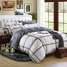 BENBU High-end fashion bedding Four piece white box full size cotton Plaid bedroom boys girls quilt cover set
