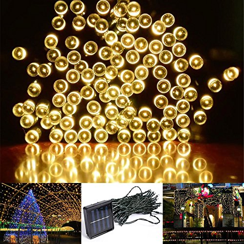 Yoland 72.2Ft/22m Solar Powered 200LED Ornament Lighting Outdoor Starry Fairy String Light for Christmas Home Garden Party Yard Decorating, Warm white