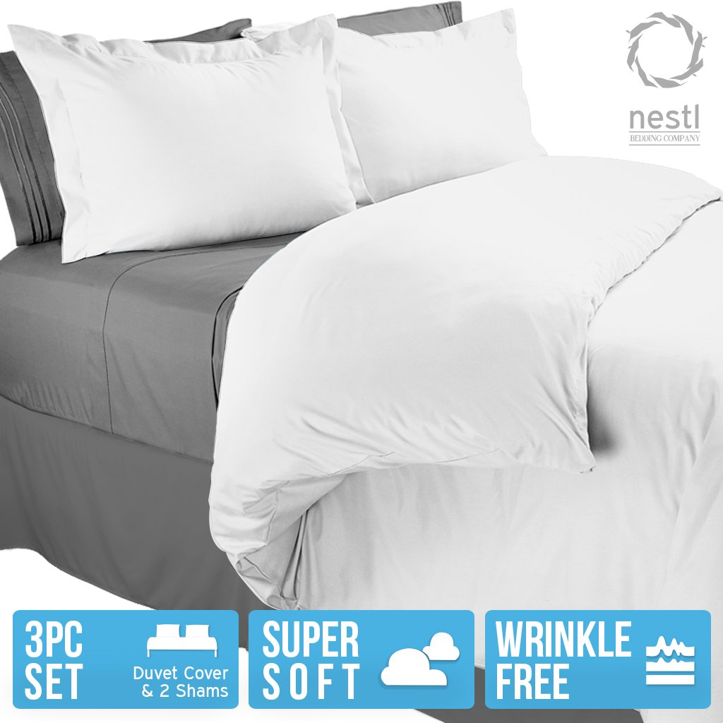 Duvet Cover King, Protects and Covers your Comforter / Duvet Insert, 100% Luxury Microfiber, Solid White Color, 3 Piece Duvet Cover Set Includes 2 Pillow Shams - Nestl Bedding
