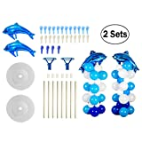 2 Sets Balloon Column Stand Base and Pole Kit - Blue Ocean Dolphins Theme - 5 Feet Height Balloon Towers for Birthday Wedding Party Decoration (Color: Blue, Dark Blue , White, Tamaño: 5 Feet)
