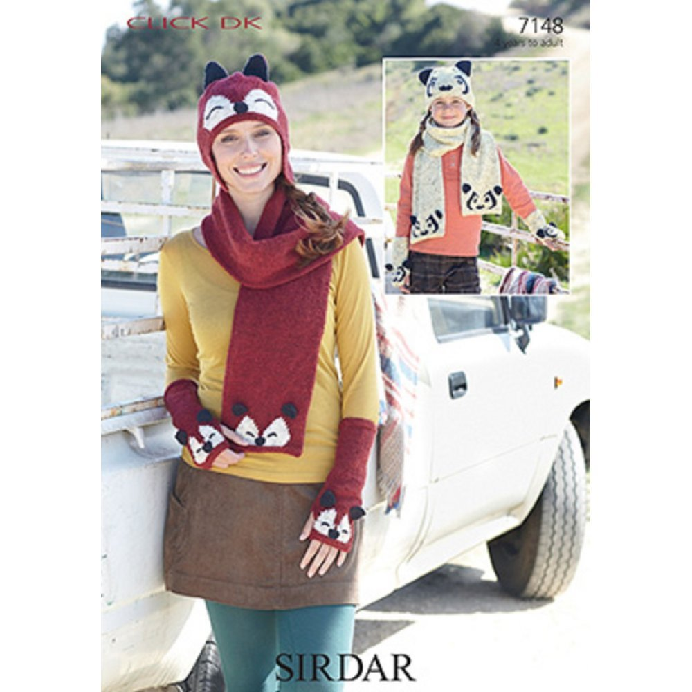 Sirdar Click DK Fox and Panda Hat, Scarf and Mitten Set Knitting Pattern 7148 sirdar snuggly double knitting baby cardigan pattern