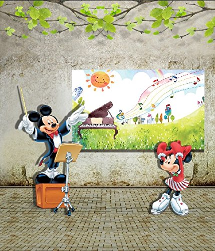 6.5 Ft*5 Ft (200cm*150cm) Fundo Background Mickey Minnie Music 3D Baby Photography Backdrop K-032