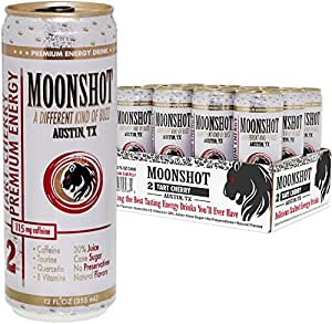 MOONSHOT Sparkling Tart Cherry Energy Drink • 30% Juice • 115mg Caffeine • Pure Cane Sugar • No Artificial Flavors, Sweeteners, Colors or Preservatives • The Best Energy Drink You Will Ever Have