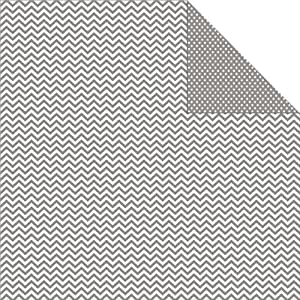 "Sn@p! Color Vibe Double-Sided Cardstock 12""X12""-Grey Chevron/Mini Dot  25 per pack"
