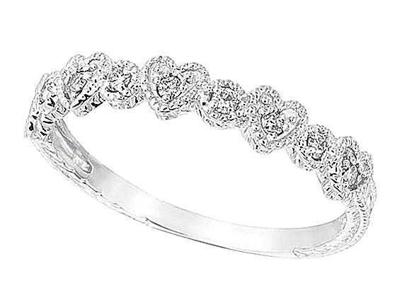 0.15 carat Round brilliant diamond heart wedding ring band solid gold 14K