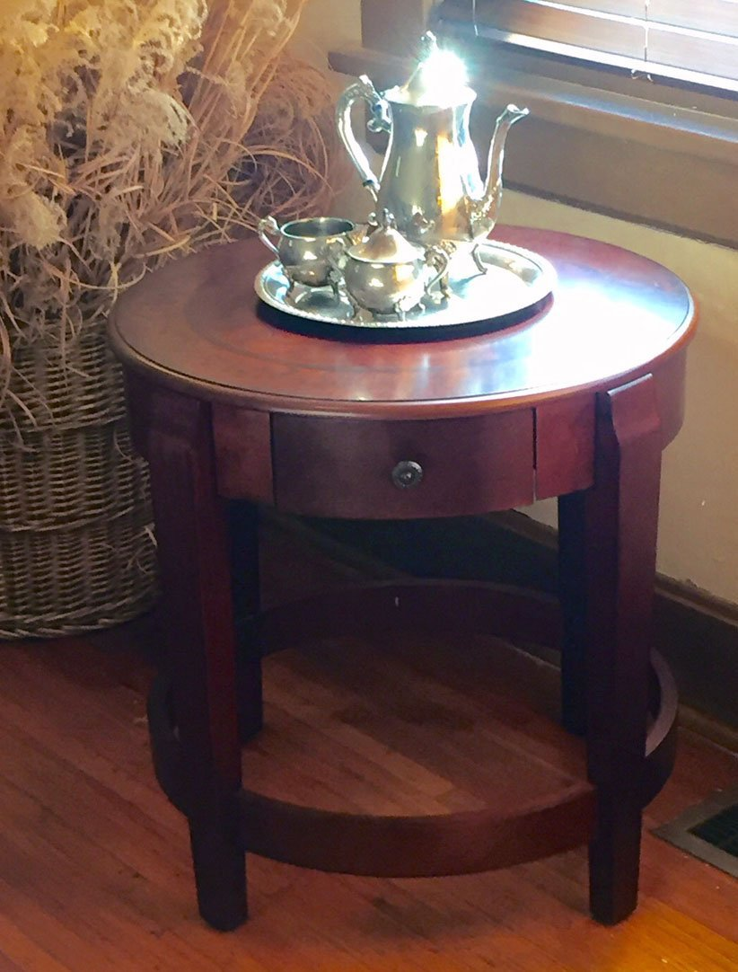Classic Accent Table with Drawer in Chestnut finish