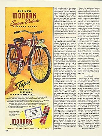 Tops in beauty Monark Super Deluxe bicycle ad 1947 at Amazon's