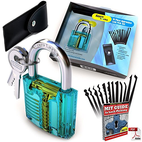 Lock Pick Set: Complete 19 Piece Practice Padlock Set With Keys