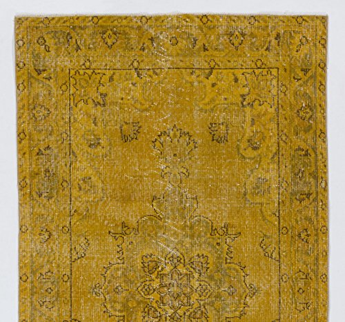 4 X 7 Feet Yellow Color Vintage Overdyed Handmade Turkish Rug