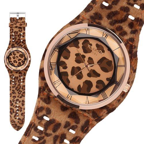 Taffstyle® Modern Frauenuhr Damen Armbanduhr Leoparden Style Damenuhr Fashion Damenarmbanduhr Analog Uhr mit Kunstleder Armband und Fell Leo Muster - Braun