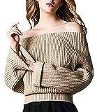 (アザブロガール)Azbro Girl レディース スタイリッシュ 純色 オフショルダー 長袖 ルーズフィット ニット プルオーバー セーター