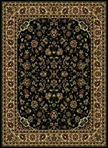 "2'2"" x 7'7"" Runner Oscar Isberian Rugs Rug Black Color Machine Made Italy ""Castello Collection"" Floral Pattern"