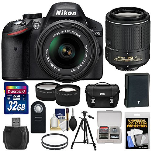 Nikon D3200 Digital SLR Camera & 18-55mm VR & 55-200mm VR II DX Lens & Case with 32GB Card + Battery + Filters + Tripod + Tele/Wide Lens Kit