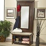 1PerfectChoice Hallway Entryway Hall Tree Bench Coat Rack Storage Shoe Shelf Mirror Dark Walnut