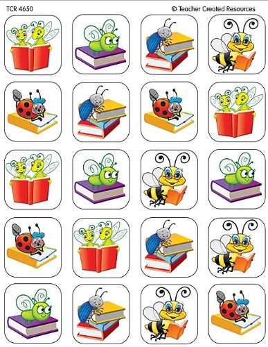 Teacher Created Resources Book Bug Stickers, Multi Color (4650)