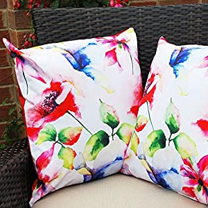 Waterproof Garden Cushions for Chairs - Cane Filled Cushions for Seats and Benches - Colourful Outdoor Cushion (6, Print - Floral) from Comfort Co®