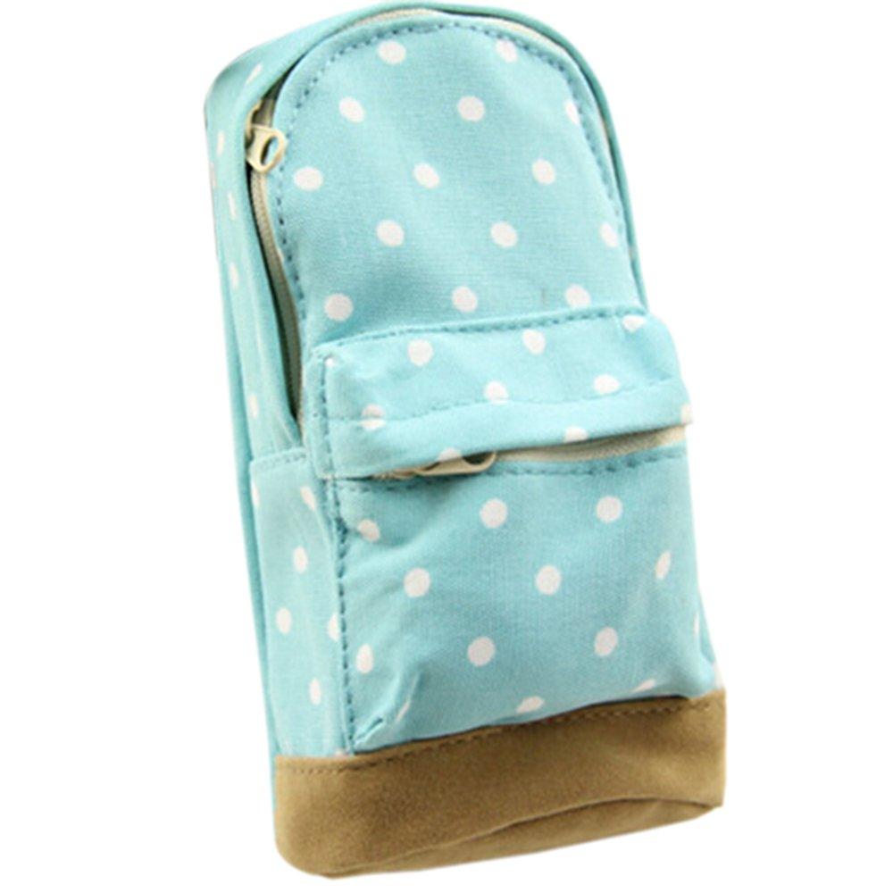 Mini School Bag Pen Case Student's Canvas Pencil Case Children Pen Bag (Blue)