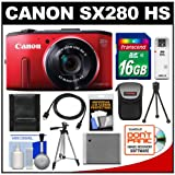 Canon PowerShot SX280 HS Digital Camera (Red) with 16GB Card + Case + Battery + 2 Tripods + HDMI Cable + Kit
