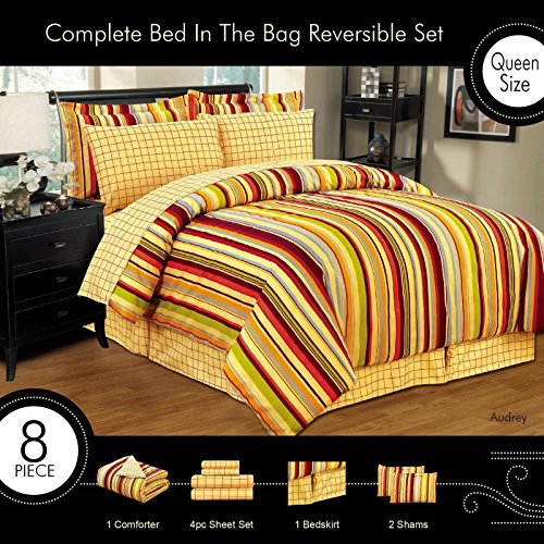 Popular Audrey Piece Bed in a Bag Comforter Bed Skirt Pillow Shams Sheet Set Queen