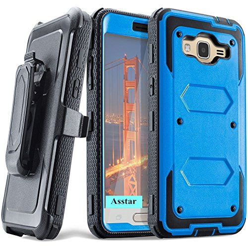 Galaxy J3 Case, Asstar Heavy Duty Premium Belt Clip Holster Built-in Kickstand Rugged Holster Armor Case for Samsung Galaxy J3 / J3 V / Galaxy Amp Prime / Express Prime (Blue) (Samsung Flip Phone Clip compare prices)
