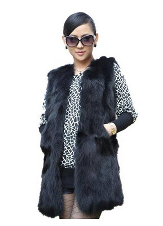 YR Lover Damen Echt Waschbär Pelz Weste Winter Warm Mantel online kaufen