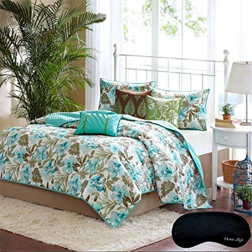 Turquoise-Aqua-Tropical-Palm-Leaf-Coastal-Beach-House-Theme-Quilt-2-Shams-3-Gorgeous-Toss-Pillows-Home-Style-Brand-Sleep-Mask-Piece-Bedding-Set