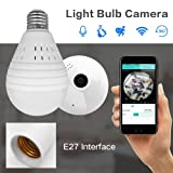 SDETER Bulb Lamp Wireless IP Camera Wifi 960P Panoramic FishEye Home Security CCTV Camera 360 Degree Night Vision Support 128GB (960P White Light/China/US Plug) (Color: white)