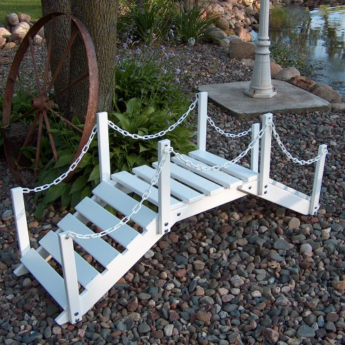 Prairie Leisure Decorative Garden Bridge with posts & chain - Sage