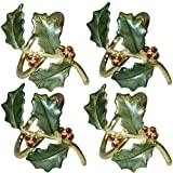 Lenox Holiday Holly Napkin Rings 4 Pack