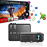 HD 1080P Projector Bluetooth WiFi 4400 Lumen Zoom, HDMI USB Airplay Wireless Smartphone Mirror LCD LED Home Theater Android Video Proyector for Game Consoles Fire TV Stick DVD Laptop Outdoor Movie (Color: wifi bluetooth 4400 lumens projector)