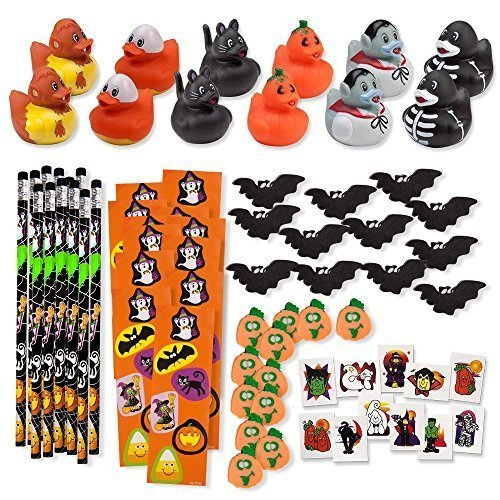156-Piece-Mega-Halloween-Toy-Novelty-Assortment-12-Halloween-Ducks-12-Halloween-Pencils-12-Halloween-Sticker-Sheets-48-Halloween-Erasers-72-Halloween-Glitter-Tattoos