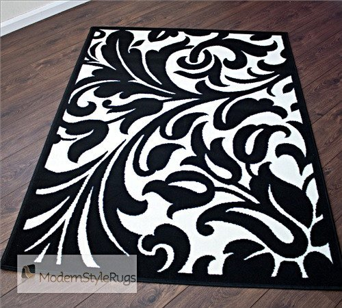 Black And White Damask Design - Stunning Modern Home Rug - AVAILABLE IN 6 SIZES, 180x 250cm (6ft x 8ft)