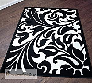 black and white damask design stunning modern home rug available