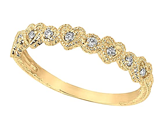 Yellow gold 0.15 carat round brilliant diamond heart ring band jewelry