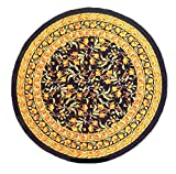 """TC10904 - India Arts Tablecloth ~ Several Sizes Available ~ 100% Cotton (Black/Gold French Floral, 72"""" Round)"""