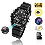 Hidden Watch Camera 16GB DVR Cameras Multifunctional Smart Wrist Waterproof Watch IR Night Vision with Cameras for Home Outdoor HD 1080P (Color: 1)
