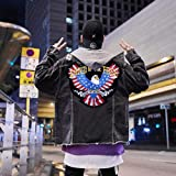 Bald Eagle Patch- Punk Rocker Rider Motorcycle Biker Patches Name Jacket Patches Appliqued Iron on/Sew on Embroidered Patches on Back Black Iron on Fabric-11.6