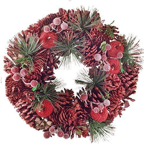 Couronne de Noël Traditionnelle aux Pommes de Pin Rouges, Baies et Sapin Artificiel 33cm