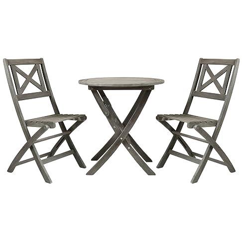 Charles Bentley Isla Acacia Bistro Set Sedie pieghevoli da tavolo del patio del giardino - Grigio