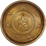 Exotic India Super Fine Large Size Ganesha Wall Hanging Plate With Ashtamangala Symbols - Brass Scul