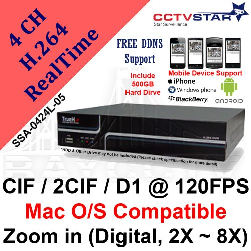 CCTVSTAR True-H SSA-0424L-05 4CH H.264 CIF / 2CIF / HD1 / D1 @ 120 FPS Real Time Standalone DVR with 500GB HDD, 2X-8X Digital Zoom & MAC OS Compatible