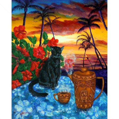 Kona Kat Black Cat In Hawaiian Sunset Iverson Original Painting On Canvas
