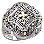 925 Silver Filigree Cross Design Ring with 18k Gold Accents- Size 6
