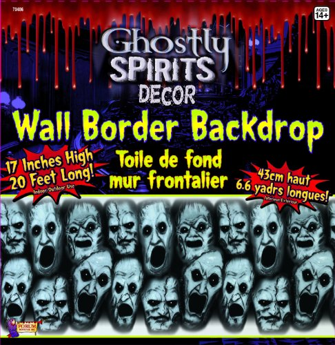 20 Foot Long Screaming Faces Wall Border Halloween Party Decoration