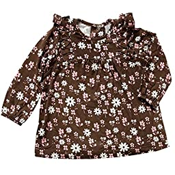 Silkberry Baby Bamboo Floral Print Ruffle Top Chocolate 3-6m