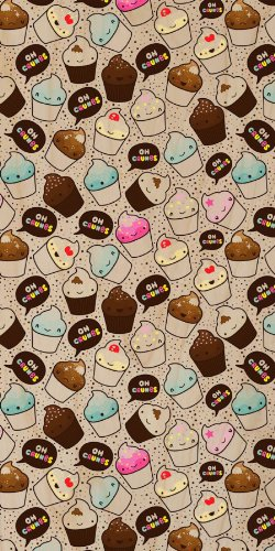 "Multiple Cupcakes Repeating ""Oh Crumbs"" W/ Polka Dot Background - Plywood Wood Print Poster Wall Art front-1081001"